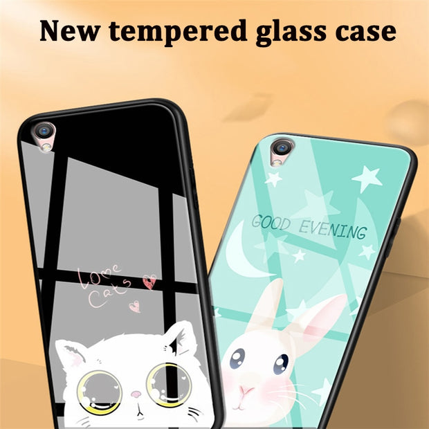 For OPPO A37 Case Phone Cases Skin Cute Cartoon Tempered Glass Cover