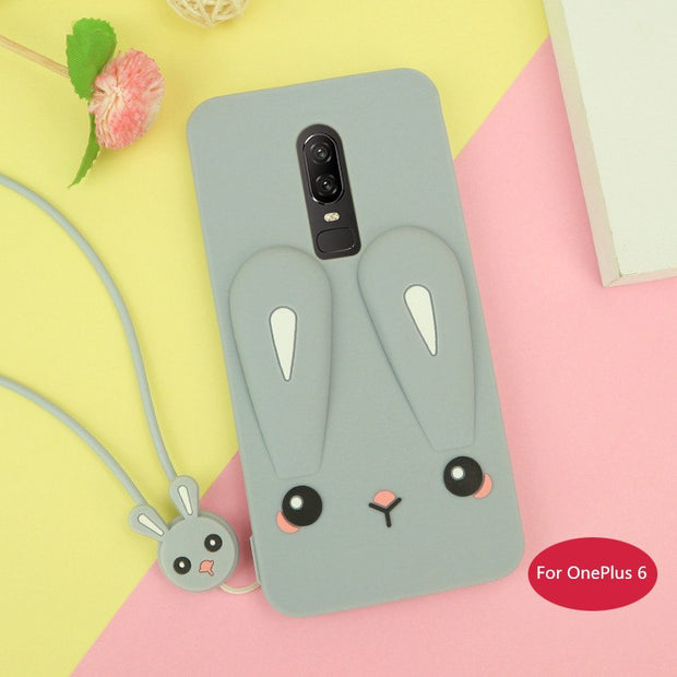 For OnePlus 6 Case Cute Color Rabbit Ear Soft Silicone Case For OnePlus6 Phone Case OnePlus 6 Coque Fundas Capa For One Plus 6