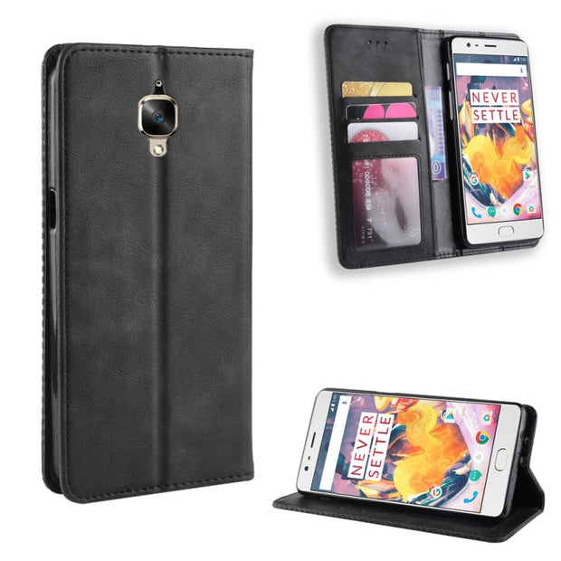 check out 2d14e 299ad For Oneplus 3 Case With Magnet Leather Flip Stand Phone Case For Oneplus 3T  Cover