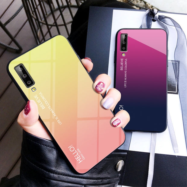 For Samsung A7 2018 Case Tempered Glass Phone Case Silicone Bumper Cover  For Coque Samsung Galaxy A7 2018 A 7 2018 SM-A750F A750