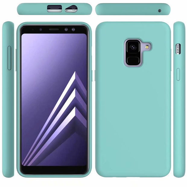 For Samsung Galaxy A8 Plus 2018 Case Luxury Liquid Silicone Skin Comfortable Protect Back Cover Case For Samsung A8 A8Plus 2018