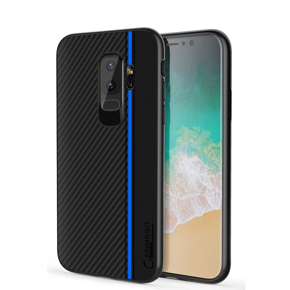 For Samsung S9 Case For Samsung Galaxy S9 Plus Case Carbon Fiber Pu Leather Vintage Business Full Protect S9plus Cases Cover