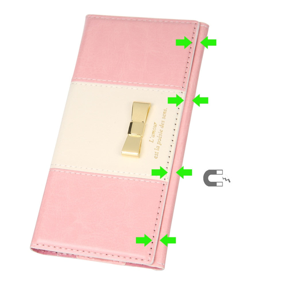 For IPhone 8 Case Leather Flip Cases 8 Plus Cover Cute Bow-knot Women Mobile Phone Bag Cards Holder Wallet Magnetic Coque Fundas