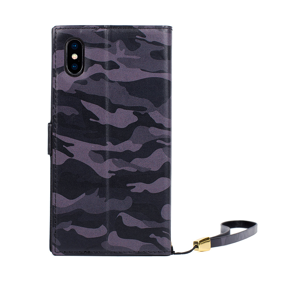 For IPhone X Case Leather Flip Cases Cover IPhone Xs Luxury Camouflage Unsex Mobile Phone Bag Cards Holder Magnetic Wallet Coque