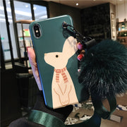 For Iphone XS Max Rabbit Case, Cute Soft Green Cover For Iphone 8plus 8 X XR 6s 6sp 7 7P Cartoon Shell Case + Fuzzy Strap