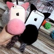 For Samsung Galaxy J3 J5 J7 A5 A7 2016 2017 Prime Emerge Cute Cartoon Cat Ear Pom Pom Fur Ball Tail Tassel Phone Case