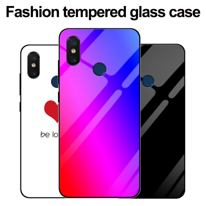 For Xiaomi Mi Max 3 Case Luxury Gradient Tempered Glass Case For Xiaomi Mi Max3 Phone Cases MiMax 3 Shell Back Cover Solid Color