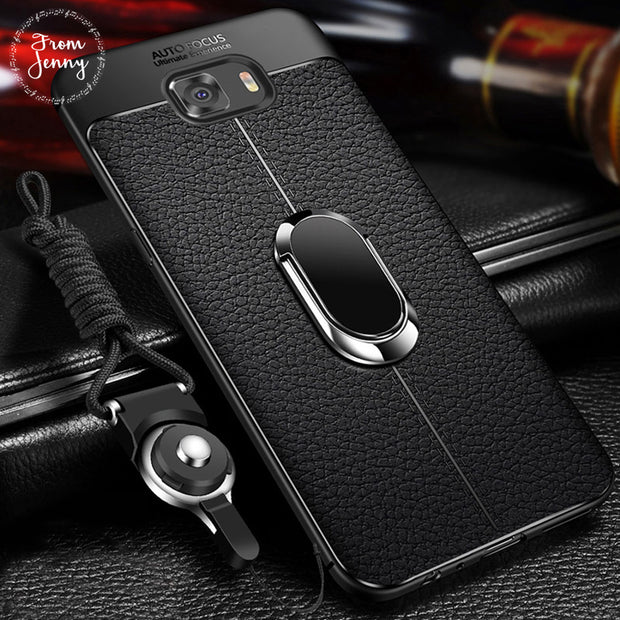 From Jenny Soft Silicone Leather Back Cover For Samsung Galaxy S8 S9 Plus With Magnetic Car Holder Case For Samsung Note 8 Note9