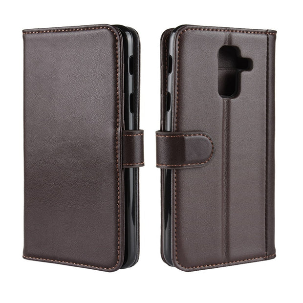 new product b1c8f 5d2bf Genuine Leather Case For Samsung Galaxy A6 2018 Flip Cover 6.0 Inch Wallet  Phone Cases Cover Samsung Galaxy A6 Plus 2018 Case