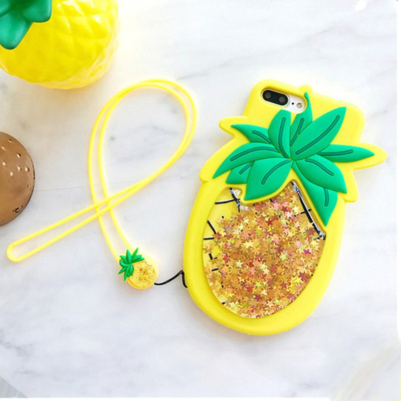 GlamPhoneCase 3D Fruit Glitter Quicksand Pineapple Phone Back Cover Cases For Iphone X 8 6 6S 7 7 Plus Soft Silicon Capa