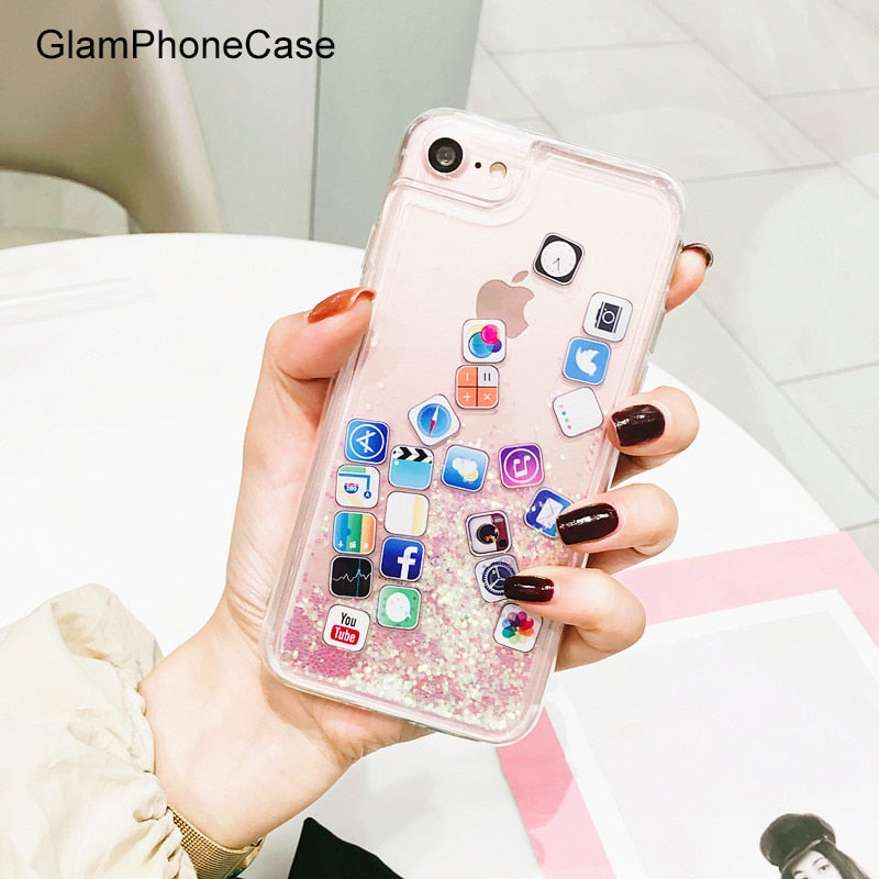 GlamPhoneCase App Icon Glitter Quicksand Phone Case For Iphone X 8 8plus 7 7plus 6 6plus 6S 6S+ Soft Rubber Cute Cover Case