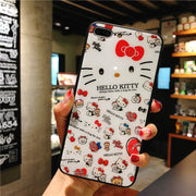 Glass Back For IPhone 8 Plus Case + Tempered Glass Hello Kitty Phone Cover For IPhone 7 7plus 6 6s Plus Case Fundas For Iphone X