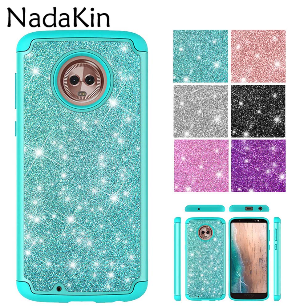 Glitter Shockproof 2 In 1 Case For Motorola Moto E4 USA Version E5 G6 Play Hybrid Flicker PC Silicone Bling Phone Cover Shell