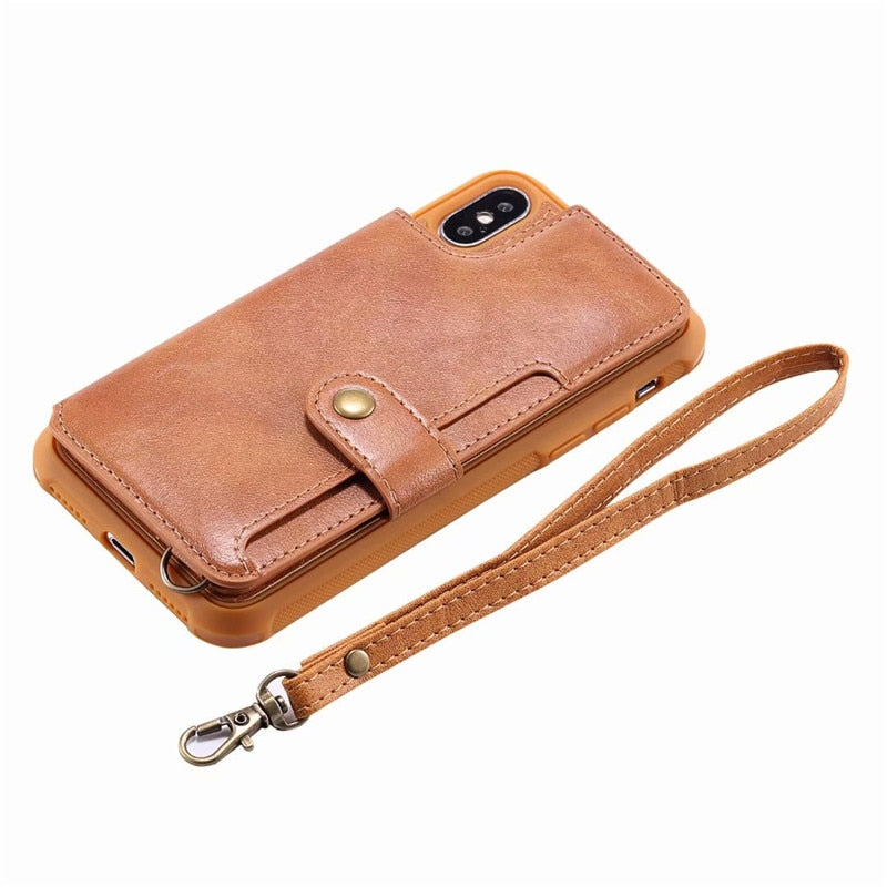 Hand Strap With Retro PU Leather Case For IPhone X 6 6s 7 8 Plus Multi Card Holders Case Cover For IPhone 8 7 6 6s Plus X Shells