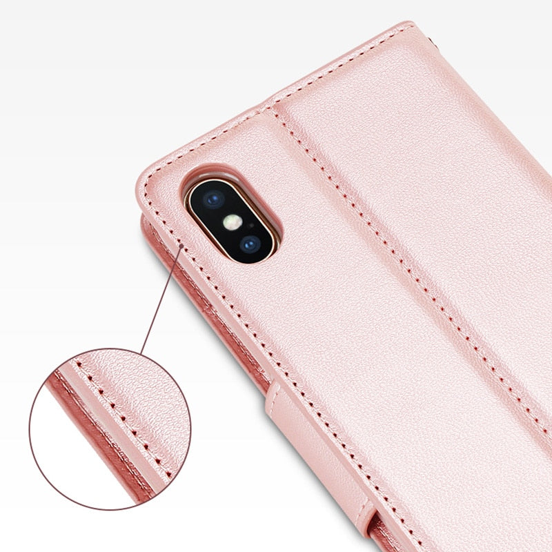Hanman Leather Wallet Card Holder Cover Case For Apple Iphone X Rose Gold PU Case For Iphone X Mobile Phone Bag Cases Coque 5.8""