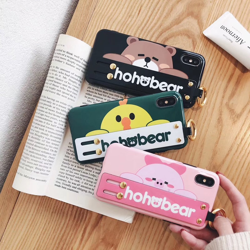 Hohobear Cute Lovely Bear Phone Case For Iphone 6 6s 7 8 Plus Strap Stand Holder Back Cover Case For Iphone X XR XS MAX
