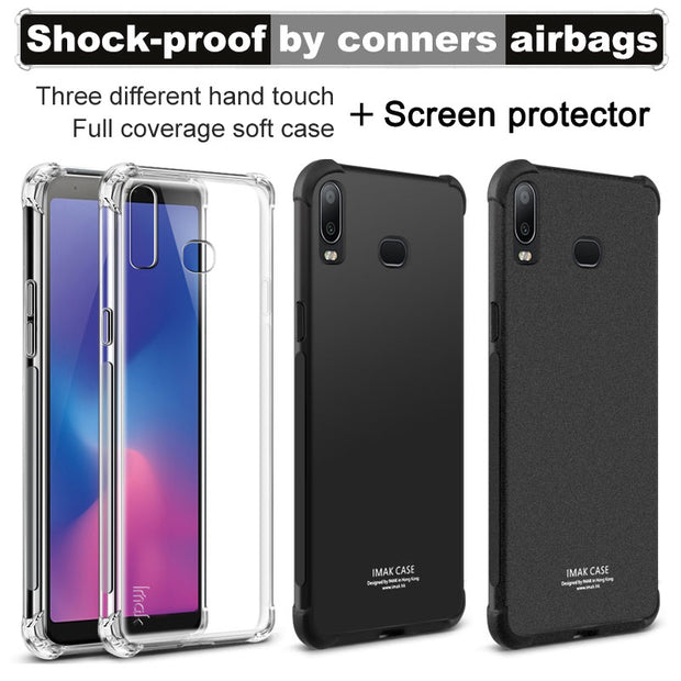 IMAK Case For Samsung Galaxy A6s Shockproof Silicone Soft TPU Cover Sfor Samsung G6200 Case With Film