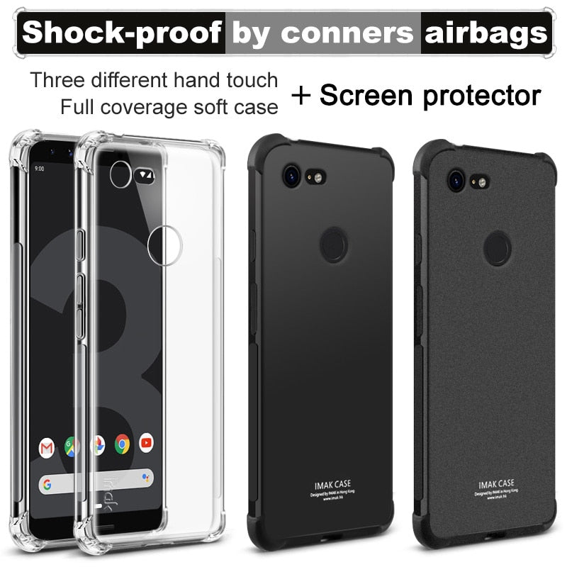 IMAK SFor Google Pixel 3 Case Cover Shock-resistant Shockproof Silicone Soft Transparent TPU Cover Case For Google Pixel 3 XL