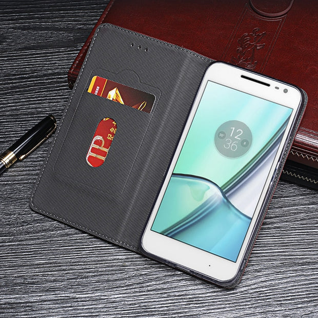Itgoogo For Motorola Moto G4 Play Case Cover Luxury Leather Flip Case For Moto XT1607 Protective Phone Case Retro Back Cover