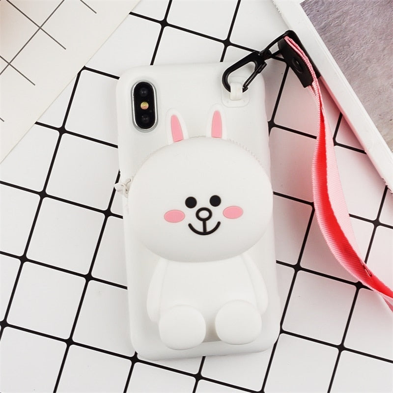 JAMULAR Silicone Cartoon Wallet Phone Case For IPhone 7 8 Plus XS MAX With Lanyard Case For IPhone X XS XR 6 6S Plus Soft Coque