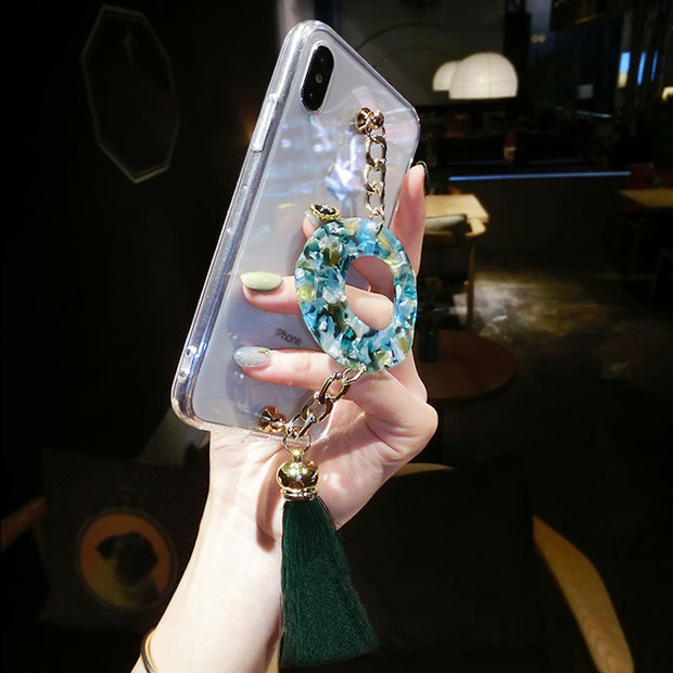 Jade Chain Bracelet Tassel Phone Case For IPhone 6 6s 7 8 Plus X XS Max XR For Samsung Galaxy S6 S7 Edge S8 S9 Plus Note 5 8 9