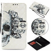 "Jewelled For Huawei Honor 7s Honor7s 5.45"" 3D Bling Painting Flip Leather Wallet PU Mobile Phone Cover Honor Play 7 Coque Funda"