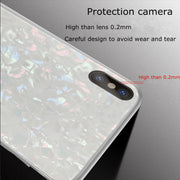Kerzzil Dream Shell Tempered Glass Phone Case For IPhone X 7 8 6S Plus Glitter Glossy Glass Case Cover For IPhone 7 Hard Coque