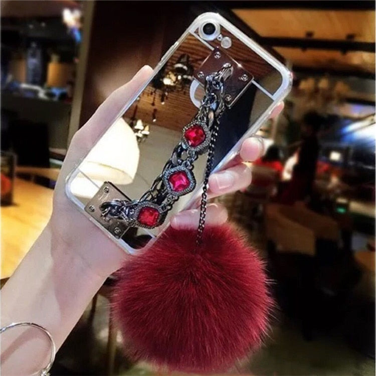 LaMaDiaa Bling Glitter Bracelet Crystal Hairball Women Case For IPhone XR XS MAX X 8 7 6 6S Plus Mirror Phone Cases