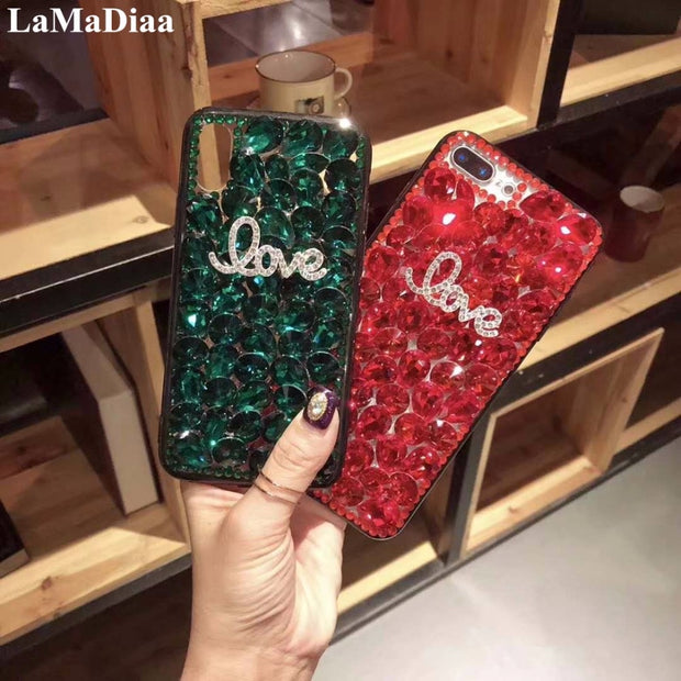 LaMaDiaa Fashion Design Luxury DIY Bling Crystal Diamond Bling Rhinestone Cases Cover For Iphone X 10 5 5S SE 6 6S 6Pus 7 8 Plus