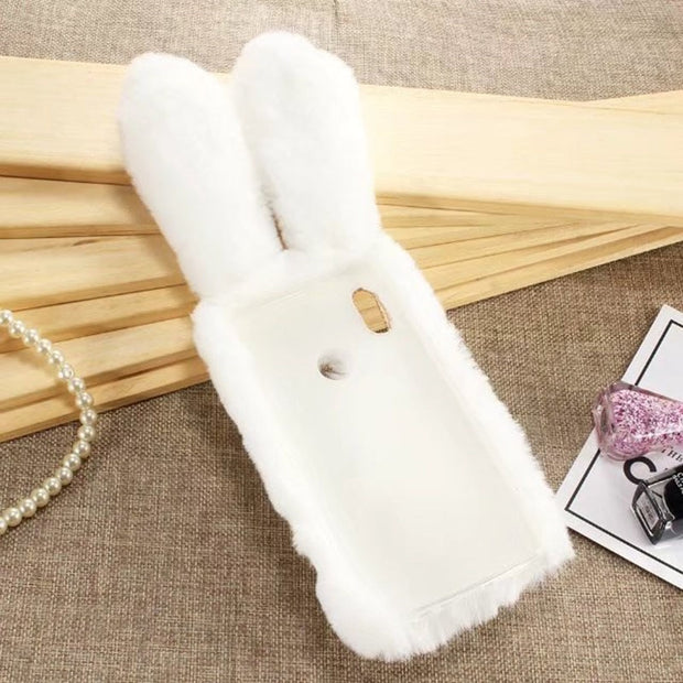 Leanonus 3D Rabbit Hair Plush Toy Phone Cover For Xiaomi Mi A2 Case Luxury Fur Ball Bunny Cases Protective Capa Mi A2/6X