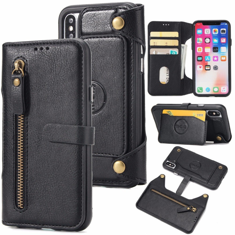 Leather Wallet Phone Case For IPhone 7 8 Plus 6 6S Plus Zipper Leather Card Holder Magnetic Cover Case For IPhone X XR XS Max