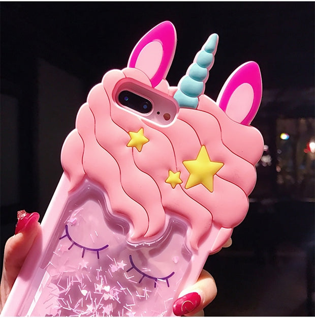 Lovely Dream Unicorn Quicksand Phone Case For Xiaomi A1/5X Pink Unicorn For Redmi 4A/4X Unicorn Cover For Redmi Note 5A Prime