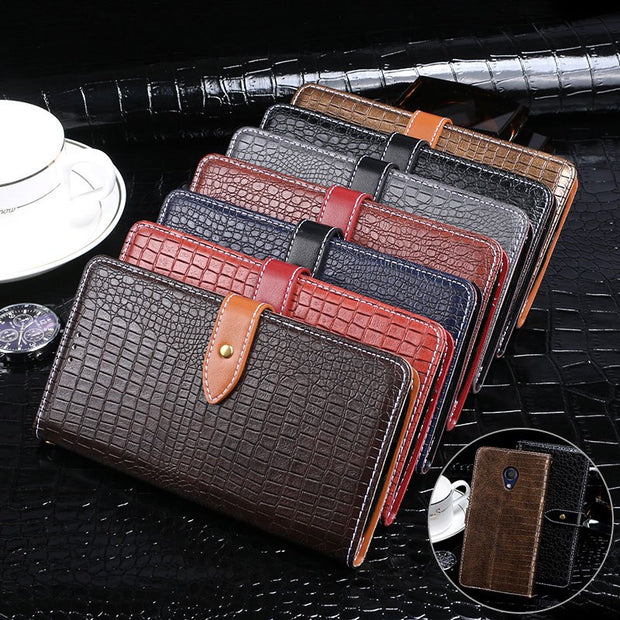 "Luxury Crocodile Pattern Leather Case For Alcatel 1C Cover 5.34"" Silicone Wallet Flip Cover For Alcatel 1C 5009D 5009A Phone Bag"
