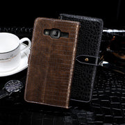 Luxury Crocodile Pattern Leather Case For Samsung Galaxy J3 2016 Silicone Wallet Flip Cover Coque For Samsung J3 2016 Phone Bags