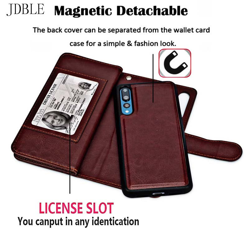 Luxury Flip Wallet Leather Case Cover Magnetic Detachable 2 In 1 9 Cards Phone Case For Coque Huawei P20Lite P20Pro Case JS0891