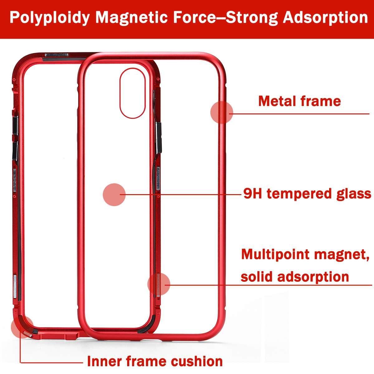 Luxury Magnetic Adsorption Phone Case Transparent Tempered Glass Flip Cover Metal Magnetic Shell For IPhoneX/7/8/7Plus/8Plus