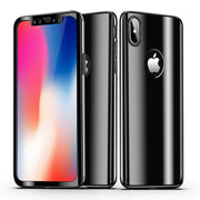 Luxury Plating Bright Phone Case For Iphone X Full 360 Degree 3in1 PC + Glass Film Cover Case Shell For I5 5S SE 6 6S 7 8 Plus