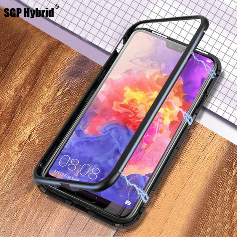 Magnetic Adsorption Case For Huawei P20 P20 Lite 9H Tempered Glass Back Cover Luxury Metal Aluminum Phone Case For Huawei P20Pro