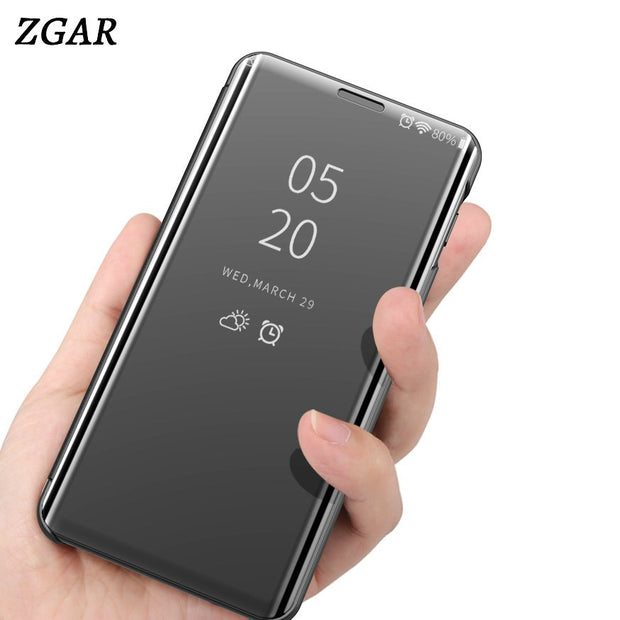 Mirror Case For Samsung Galaxy A8S Transparent Flip Covers ZGAR Hard Kickstand Phone Bags Cases For Samsung Galaxy A8S Celular