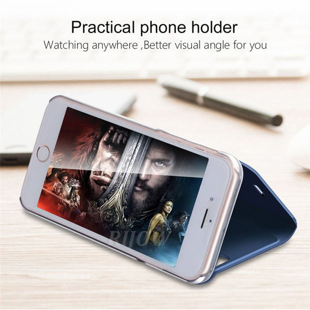 Mirror Smart Flip Cover Case For Xiaomi Redmi Note 5A 5 Pro 4X 4 Stand Leather Cover For Redmi 4X 5 5 Plus S2 6 Pro Phone Case