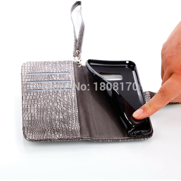 Multifunction Croco Snake Leather Wallet Case For Iphone X 8 I8 Iphone8 8G Luxury Zipper Strap Pouch Bag Card Slot Cover 1pcs