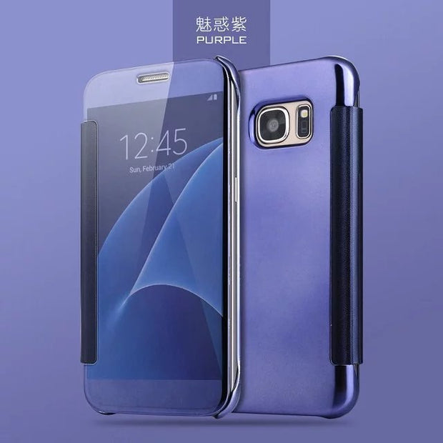 New Phone Bag Case For Samsung Galaxy S7 Edge Mirror Plating Flip Case For Samsung S7 Edge Galaxy S8 Plus Ultra Thin Cover