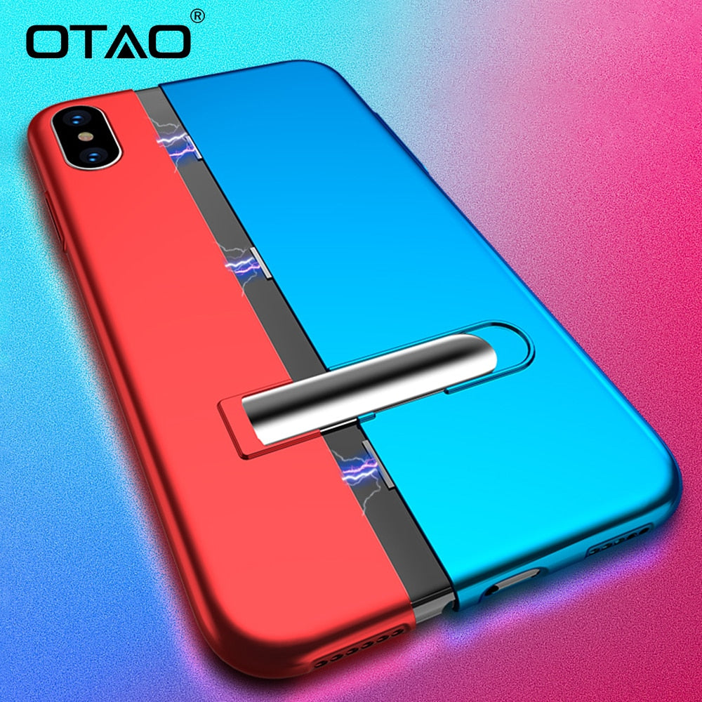 OTAO Magnet Absorption Phone Case For IPhone XR XS MAX X 8 7 6 6S Plus Invisible Bracket Cases 360 Degree Full Cover Slim Coque