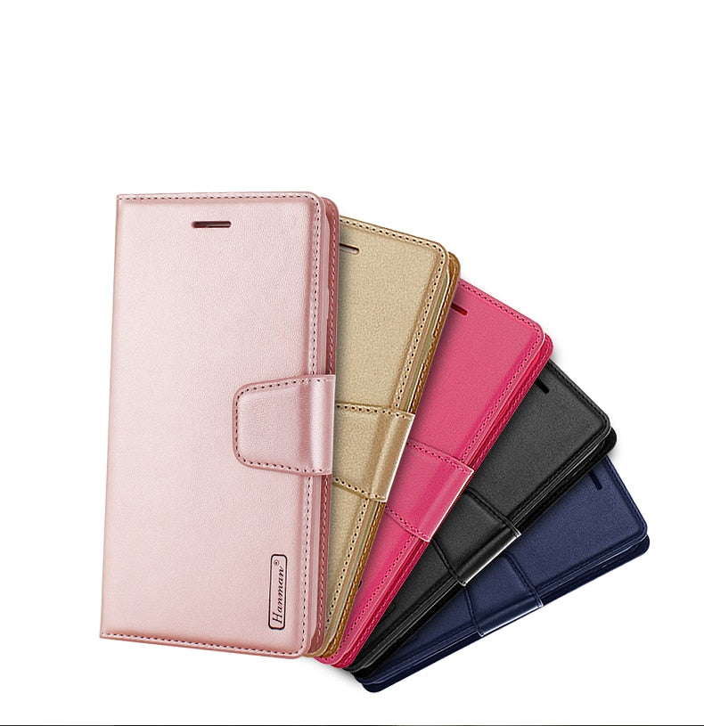 Original Hanman Brand Leather Wallet Flip Stand Card Holder Cover Case For Apple IPhone 6 6S 7 Plus 6P 7P 8 X Phone Bag Case