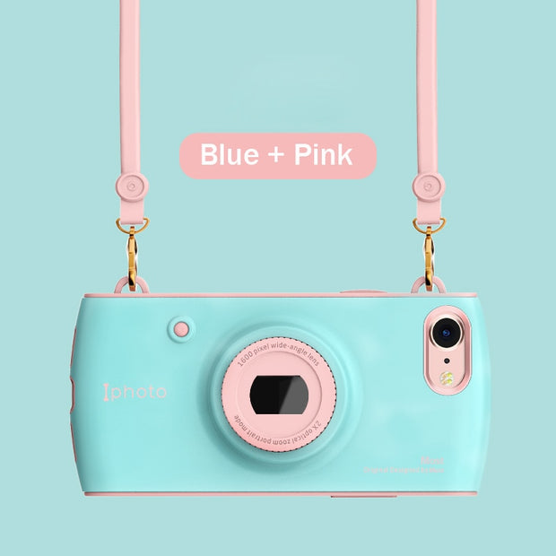 Retro Camera Phone Case For IPhone X 7 8 3D Lens Bugle Hybrid Girls Vintage Cases For IPhone 6 6S 7 8 Plus With Lanyard Cover