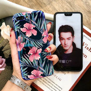 Shockproof Blue Light Phone Case For Huawei Honor 10 Flower Design Case Cover