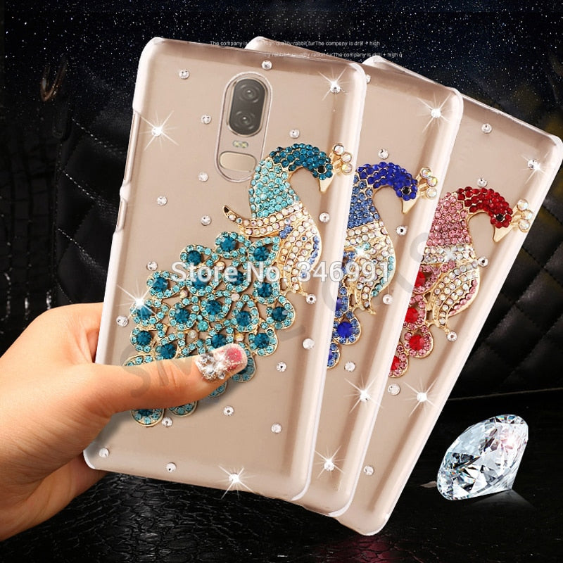 Smile Case For Oneplus 6 1+6 One Plus 6 Cover 6.28 Inch Clear Plastic Luxury Peacock Rhinestone Cover For One Plus 6 Phone Cases