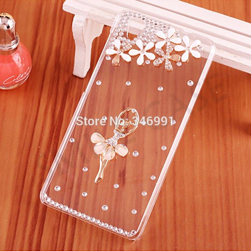 "Smile Case For Sony Xperia XA F3111 F3112 F3115 Cover 5.0"" Clear Plastic Luxury Peacock Rhinestone Case For Sony XA Phone Cases"