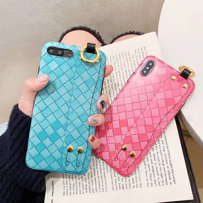 Strap Stand Holder Phone Cases For IPhone X 7 8 6 6S Plus Woven Pattern Hand Strap Soft Phone Back Cover For IPhoneXs Xr Xsmax