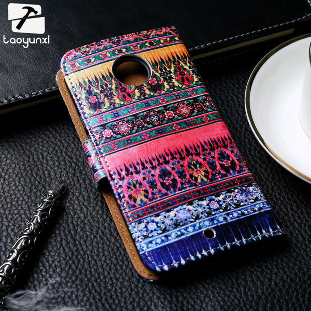 TAOYUNXI Painted Leather Flip Covers Cases For Motorola Moto X2 X3 XT1094 XT1096 XT1097 X 3nd X 3rd Gen XT1055 Case Cover